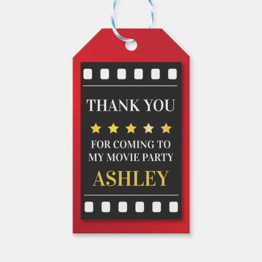 Birthday Party Movie Ticket Film Thank You Tags