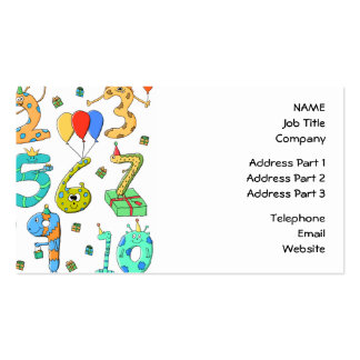 Birthday Party Numbers Business Cards