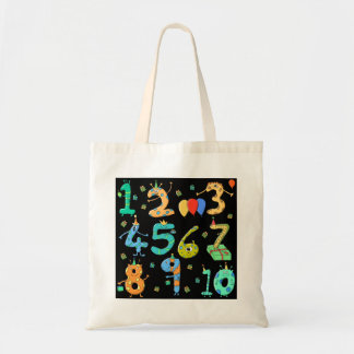 Birthday Party Numbers on Black Canvas Bags