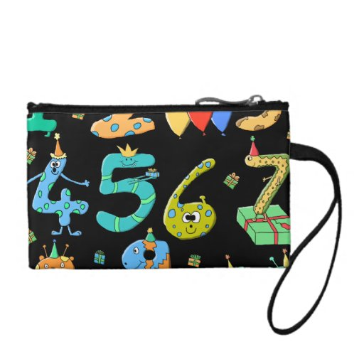 Birthday Party Numbers, on Black. Coin Wallet
