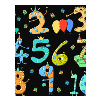Birthday Party Numbers on Black Flyer Design