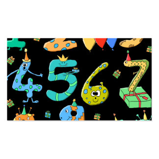 Birthday Party Numbers, on Black. Pack Of Standard Business Cards