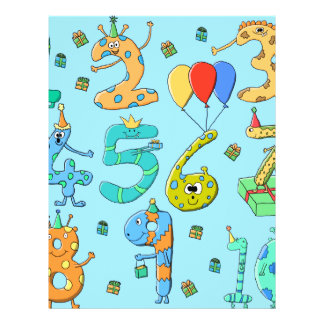 Birthday Party Numbers, on Pale Blue. 21.5 Cm X 28 Cm Flyer