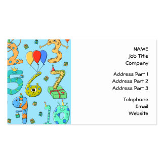 Birthday Party Numbers, on Pale Blue. Pack Of Standard Business Cards