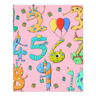 Birthday Party Numbers, on Pink. 11.5 Cm X 14 Cm Flyer