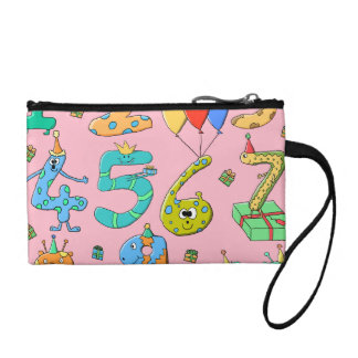Birthday Party Numbers on Pink Coin Purses