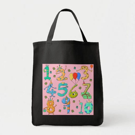 Birthday Party Numbers, on Pink. Bag