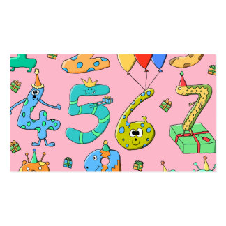 Birthday Party Numbers, on Pink. Pack Of Standard Business Cards