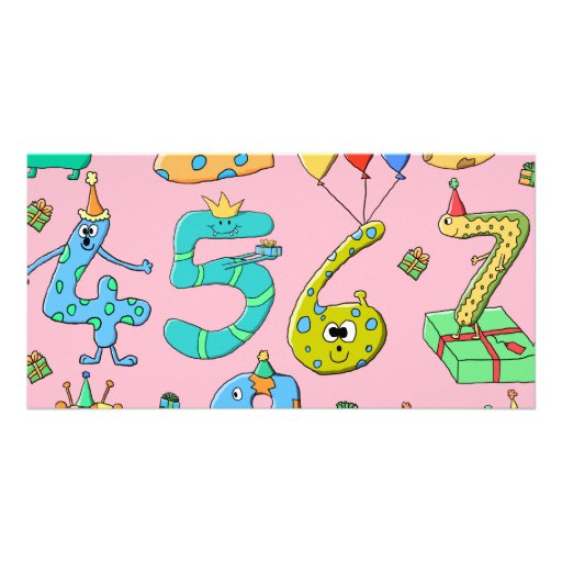 Birthday Party Numbers, on Pink. Photo Card Template