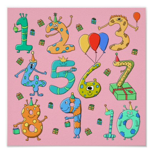 Birthday Party Numbers, on Pink. Posters