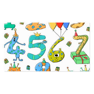 Birthday Party Numbers Pack Of Standard Business Cards