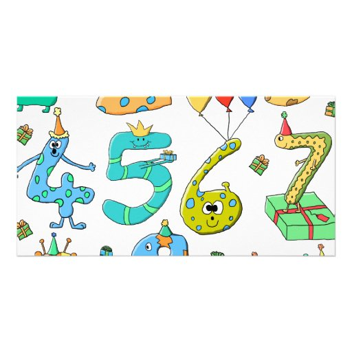 Birthday Party Numbers Photo Card