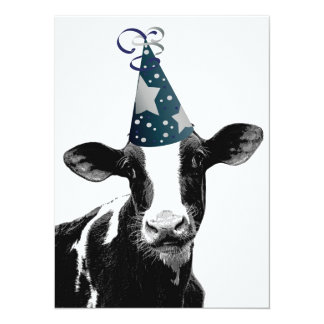 Birthday Party or Baby Shower Party Cow! 14 Cm X 19 Cm Invitation Card