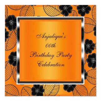 Birthday Party Orange Damask Silver Black 5.25x5.25 Square Paper Invitation Card