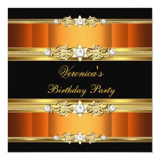 Birthday Party Orange Gold Black 13 Cm X 13 Cm Square Invitation Card