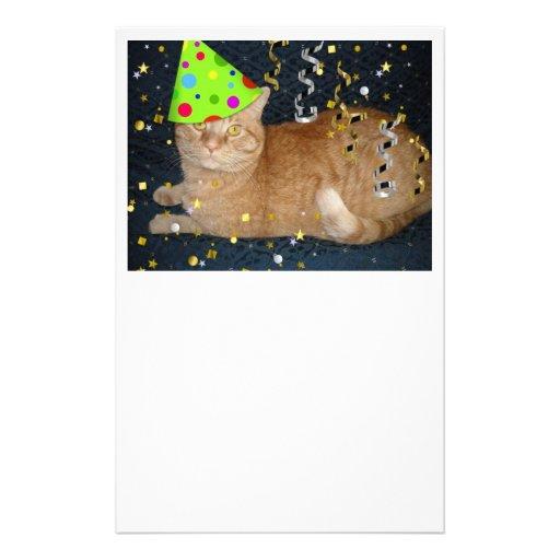 Birthday Orange Cat: Birthday Party Orange Tabby Cat Custom Stationery