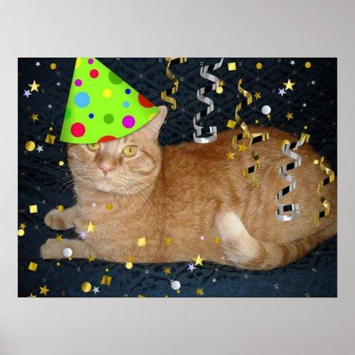 Birthday Party Orange Tabby Cat Print
