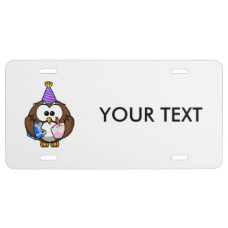 Birthday Party Owl License Plate