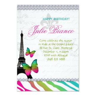 Birthday Party Paris Card Eiffel Tower Butterflies 13 Cm X 18 Cm Invitation Card