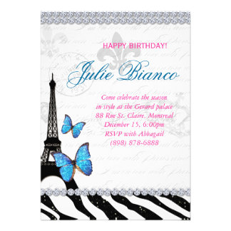 Birthday Party Paris Card Eiffel Tower Butterfly G