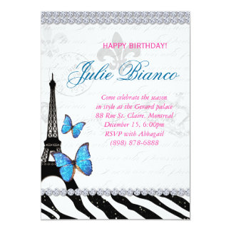 Birthday Party Paris Card Eiffel Tower Butterfly G 13 Cm X 18 Cm Invitation Card