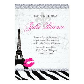 Birthday Party Paris Card Eiffel Tower Zebra 13 Cm X 18 Cm Invitation Card