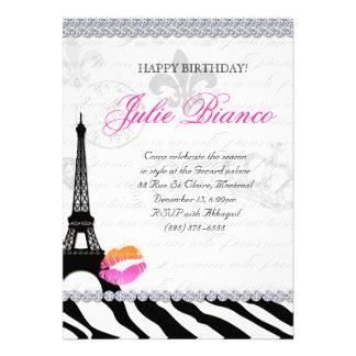 Birthday Party Paris Card Eiffel Tower Zebra OP