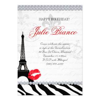 Birthday Party Paris Card Eiffel Tower Zebra Red