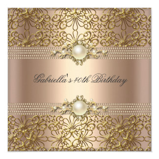 Birthday Party Pearl Coffee Cream Gold chain Card