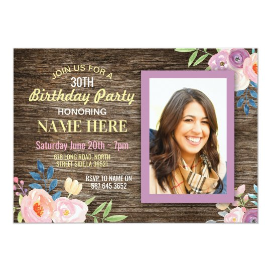 Birthday Party Photo Flowers Rustic Wood Invite