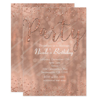 Birthday Party Pink Rose Gold Glamour Invitations