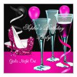 Birthday Party Pink Shoe Heels Wine Stiletto 13 Cm X 13 Cm Square Invitation Card