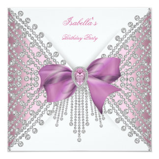 Birthday Party Pink Silver White Diamond Bow 2 Card