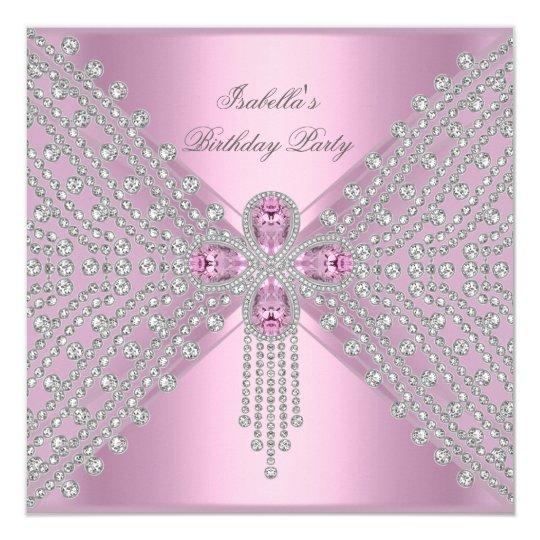 Birthday Party Pink Silver White Diamond Card