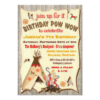 Birthday Party Pow Wow Teepee Invitations