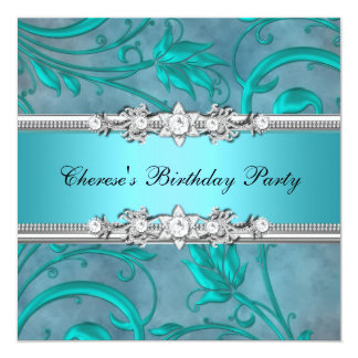 Birthday Party Pretty Teal Floral Diamond Image 5.25x5.25 Square Paper Invitation Card