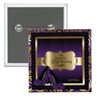 Birthday Party | Purple and Gold 15 Cm Square Badge