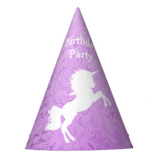 Birthday Party Purple and White Unicorn Paper Hat