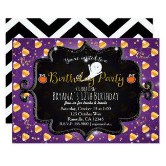 BIRTHDAY PARTY Purple Candy Corn Ghost Invitation