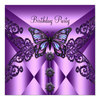 Birthday Party Purple Lilac Butterfly 13 Cm X 13 Cm Square Invitation Card