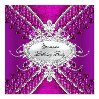 Birthday Party Purple Plum Diamond Beads Card