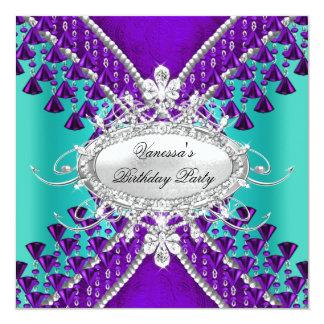 Birthday Party Purple Teal Blue Diamond Beads 13 Cm X 13 Cm Square Invitation Card