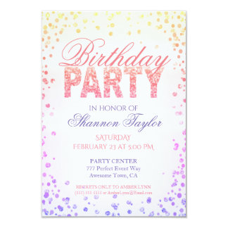 Birthday Party Rainbow Watercolor Confetti Card