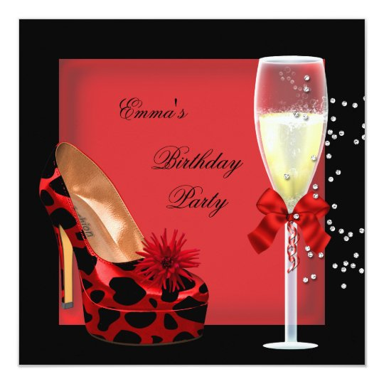 Birthday Party Red Black Champagne Shoe Card