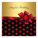Birthday Party Red Bow Gold Black Gold Spot Custom Invitation
