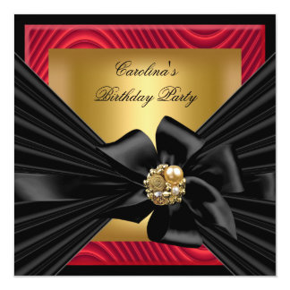 Birthday Party Red Gold Black Ripple 13 Cm X 13 Cm Square Invitation Card
