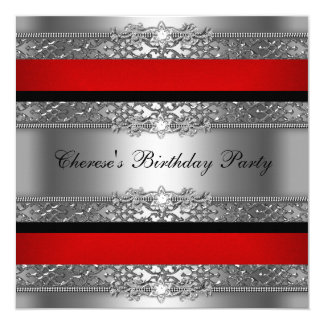 Birthday Party Red Silver Black Diamond Card