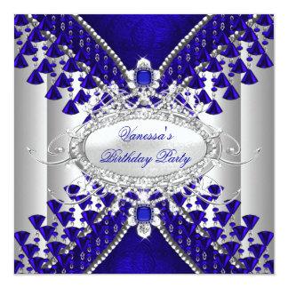 Birthday Party Royal Blue White Diamond Bead Image 13 Cm X 13 Cm Square Invitation Card