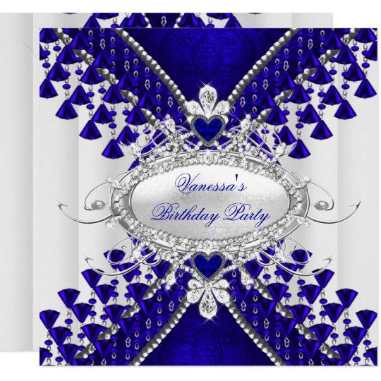 Birthday Party Royal Blue White Heart Diamond Card