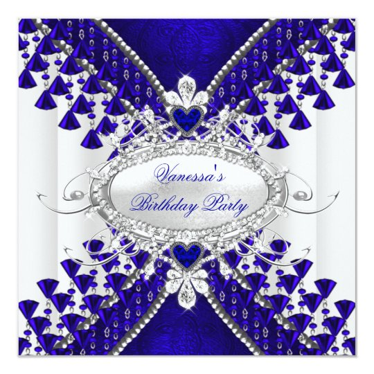 Birthday Party Royal Blue White Heart Diamond Card